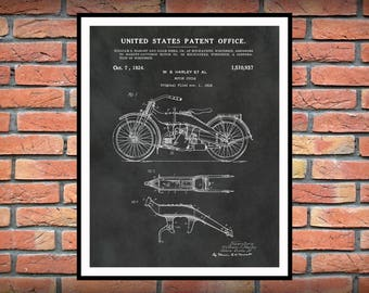 1919 Harley Patent Print Vers #2 Vertical - Harley Poster - Wall Art - Harley Davidson Motorcycle - Hells Angels - Man Cave Decor