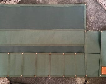 Tool Roll for Woodworkers, Carpenters, Wood Carving, Water Resistant Canvas, Leather Strap, Storage for Chisels, Carving Knife, Gift for Him