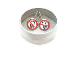 Sleepers cabochons - stem stainless steel - glass 12 mm - white red earring - cell - hypoallergenic / Cell earrings
