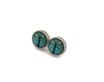 Studs - stainless steel Studs - round glass 8 mm - tree earring - hypoallergenic / Three earrings