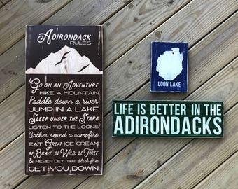 Adirondack Bundle - Adirondack Decor - Mountain Decor - Cabin Decor - Lake Decor - Wood Sign - Family Rules - Cabin Rules