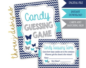 Butterfly Baby Shower Candy Guessing Game Cards and Sign - INSTANT DOWNLOAD - Navy Blue, Teal and Gray - Digital File - J007