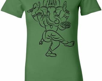 Yoga Clothing For You Sketch Ganesha Black Print Womens Longer Length Tee T-Shirt = 6004-BSKETCHGANESH