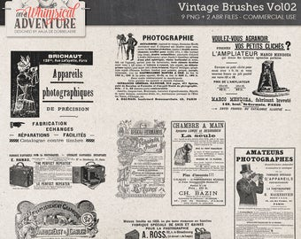 Vintage Photographer, Vintage Newspaper Ads Commercial Use OK, Digital Download, Photoshop Brushes, Clip Art, Vintage Camera Advertisements
