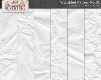 Wrinkled Papers, Folded Textures, Digital Scrapbook Papers, Commercial Use OK, Overlays, Digital Backgrounds, Wrapping Paper, Texturizers