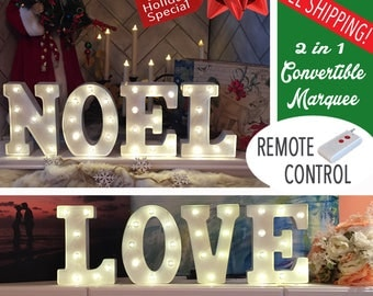 NOEL & LOVE 2-in-1 Convertible Light Up Letters - Noel Sign - Love Sign - Christmas - Battery Powered - Marquee Letters
