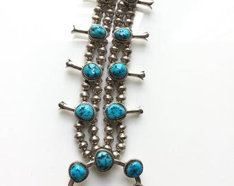 On hold for C - Vintage Native American Navajo Sterling Silver Turquoise Squash Blossom Necklace