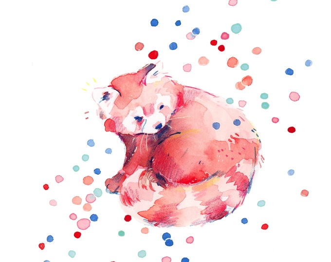 Red Panda Confetti -- Art Print