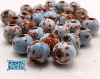 Hand Crafted Enamel Glazed Ceramic Rondelle Beads Southwest Colors--10 Pcs.   38-SW100-10