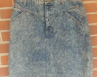 Vintage Acid Wash Denim Skirt Size 13 Odd Sized Skirt