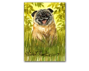 Happy Fun Funny Pug Dog Puppy Autumn LLMartin Original ACEO  Watercolor Free Shipping USA Baby Nursery New Mom Toddler Child
