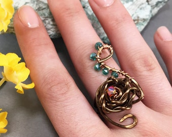 Copper Wire Ring, Wire Wrapped Ring, Wire Wrapped Jewelry, Bronze Copper Ring, Copper Jewelry, Wire Rings, Flower Ring, Copper Ring