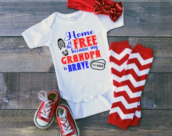 U.S. Marine Home of the Free because my Grandpa is Brave Baby Shower Idea Girl Boy Toddler Clothes Shirt Coming Home Veteran U.S. Military