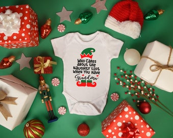 Grandma Who Cares About A Naughty List When You Have Girl Boy Baby Toddler Short Sleeve Bodysuit Tee Shirt Christmas Elf Holiday Grandparent