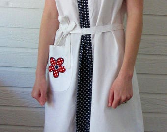 1960s Dress Red White and Blue Flower Power Zip Up