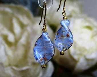 """Sommerso"" in blue Murano glass Pearl Earrings"