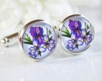 Purple Iris Flower Occasion Wedding Birthday Gift Handmade Glass Floral Cufflinks