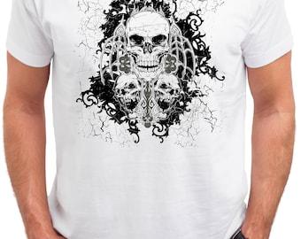 Skulls. World Awards. Men's white cotton t-shirt