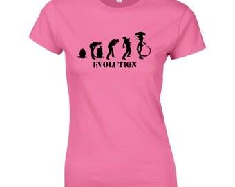 Aliens Evolution. Ladies Funny T-Shirt Fitness Gym Training MMA Birthday Gift Women Top