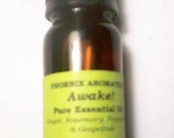 Awake! Wake-up Essential Oil Blend, Ginger, Grapefruit, Rosemary, Peppermint, Energising, Uplifting, Focus, Mornings, Stimulating