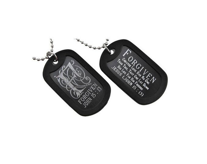 "Dog Tag ""Forgiven"" Monogram Double Sided Engraved Necklace"