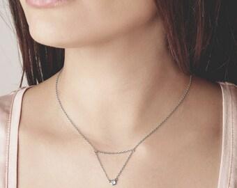 Cz Solitaire Silver Necklace - Dainty Cz Pendant Necklace - Elegant Zircon Necklace - Double Chain Cz Necklace - Tiny Solitaire Necklace