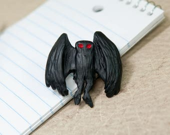 The Mothman Lapel Pin, Mothman Pin, Cryptid Lapel Pin, Cryptozoology Pin, Mothman Hat Pin, Cryptozoology Lapel Pin, Mothman