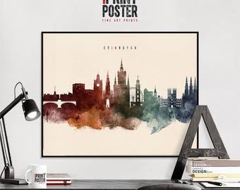 Edinburgh art print, Edinburgh poster, Edinburgh skyline watercolour print, Edinburgh wall art, travel poster, home decor, iPrintPoster