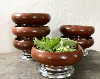 Mid Century Salad Bowls / features vintage set / wood grain and chrome / dining and kitchen decor / minimalist