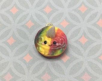 Rainbow Unicorn Oreo Charm, Polymer Clay, Handmade, Jewelry