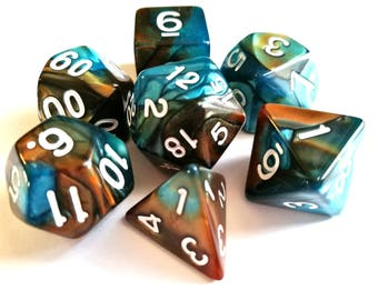 Copper/Teal Dual Colour Dice, Polyhedral Dice Set, D&D, Dungeons and Dragons, RPG, Roleplaying, Pathfinder, Set of 7
