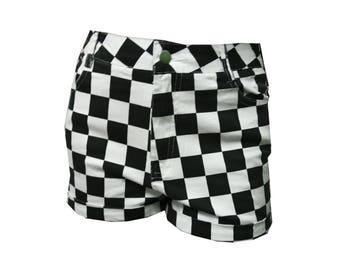 Sale Checks Vintage Short High Waisted Pants  90s Black White Checker