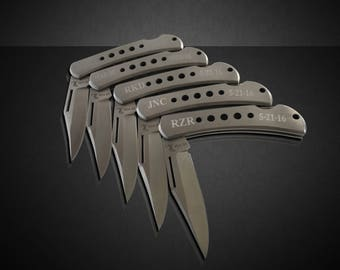 4 Personalized gifts - Best man and Groomsmen Engraved Pocket Knifes - Custom Laser Engraved Knife - Elk Ridge Stainless wedding gifts
