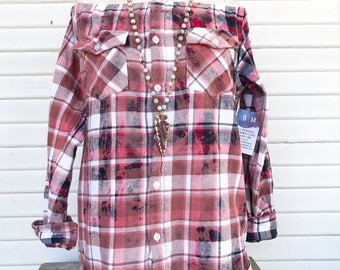 SIZE SMALL - Off Shoulder Distressed Flannel - Oxy Flannel - Shoulder Flannel - Distressed Flannel - Bleached Flannel #1