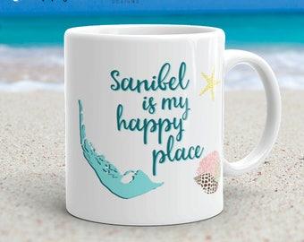 Sanibel Is My Happy Place beachy Sanibel Island Florida seashell vacation 11 oz coffee tea mug