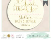 baby shower sticker with phrase a SWEET THANK YOU. Pink & gold sticker, comes with color of choice. Custom label. Baby shower tag. 2 inch