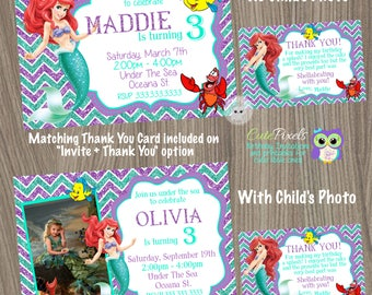 Little Mermaid Invitation, Ariel Invitation, Disney Little Mermaid, Little Mermaid Birthday, Princess Ariel, Mermaid Invitation