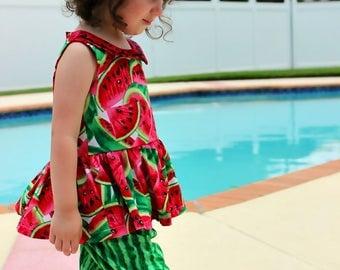 Girls Watermelon outfit- Toddler Girls- Watermelon Dress- Summer Watermelon- Shorts- knickers-  3-6m, 6-12m 12-18m 18-24m 2t 3t 4t 5 6 7 8