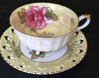 Royal Halsey Footed Yellow Tea Cup and Saucer with Pink Rose