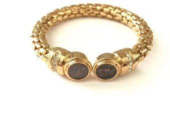 Vintage Greek Roman Coin Inspired Snake Chain Cuff Bracelet