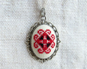 Ethnic necklace, Folk style necklace Embroidered necklace Red necklace Gifts under 30, Bohemian Gift for her Gift for wife, Hand embroidered