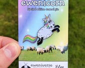 Cute enamel pin, Ewenicorn! 2.0, sheep badge, enamel pin, lapel pin, hat pin, funny pin, unicorn badge, sheep pin, sheep gifts, cute badge