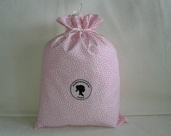 My romantic pouch pink and white dotted with hearts