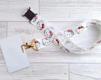 Cat Lanyard / ID badge holder with safety clasp, Kitty Lanyard