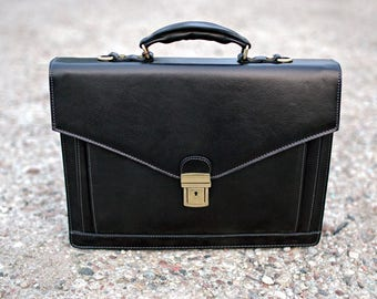 Leather briefcase, Leather bag, mens business bag, black leather briefcase, mens briefcase, Leather satchel, shoulder bag - The Magus