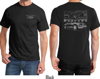Men's Ford Mustang with Grill Front & Back Print Tee T-Shirt 21284EV1-FB-PC61