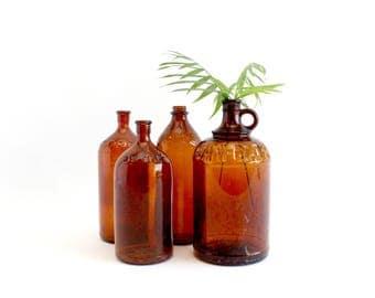 Vintage Clorox Bottles, Amber Glass Vase Collection
