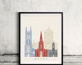 Derby skyline poster - Fine Art Print Landmarks skyline Poster Gift Illustration Artistic Colorful Landmarks - SKU 2442