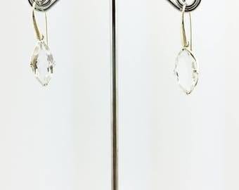 Clear Quartz Marquise Cut Earrings 925 Sterling Silver Purple 4.81 Grams