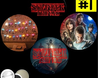 Stranger Things SET of 4 BUTTONS or MAGNETS or Mirrors pinback badges pins the Eleven Neflix Upside Down Horror Eggos Hawkins Will 1168